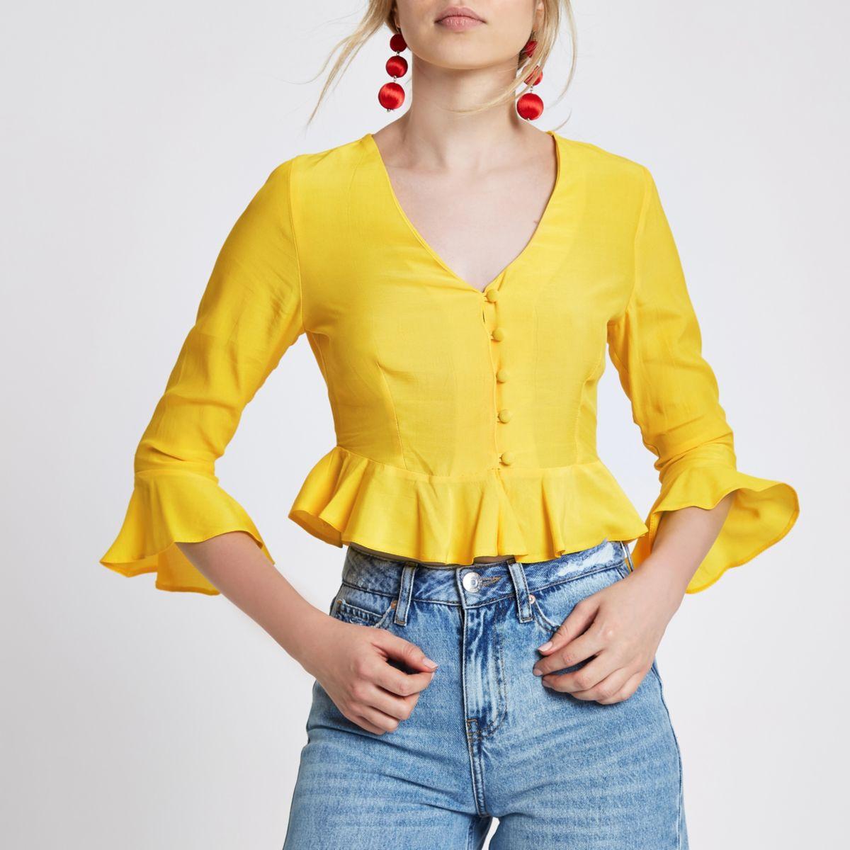 Yellow frill hem button-up crop top