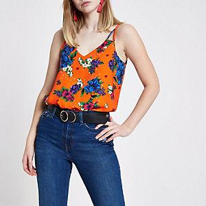 Orange floral print split strap cami top