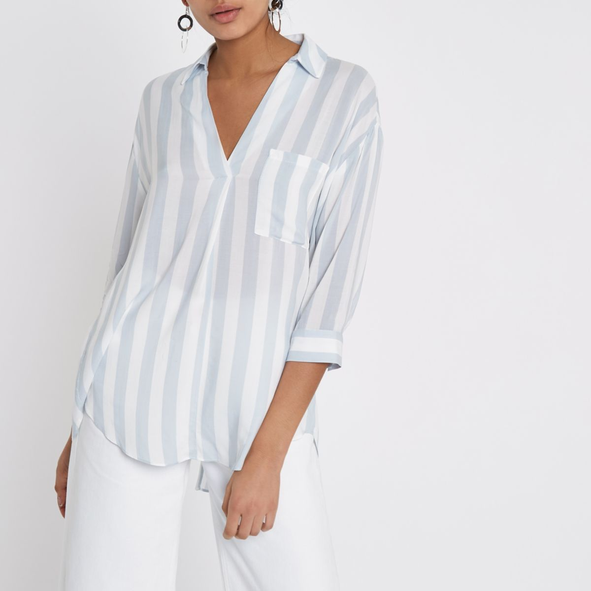 Blue stripe cross back loose fit shirt