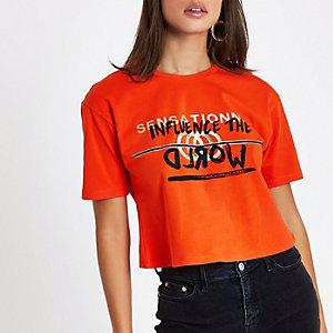 Orange 'influence' foil print cropped T-shirt