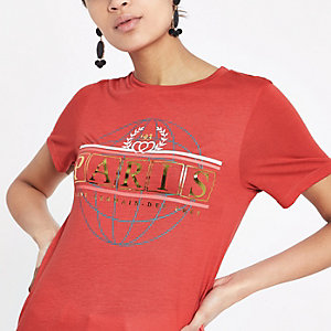 T-shirt imprimé globe «Paris» métallisé rouge