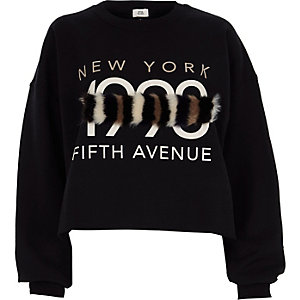 Black '1990' faux fur panel sweatshirt
