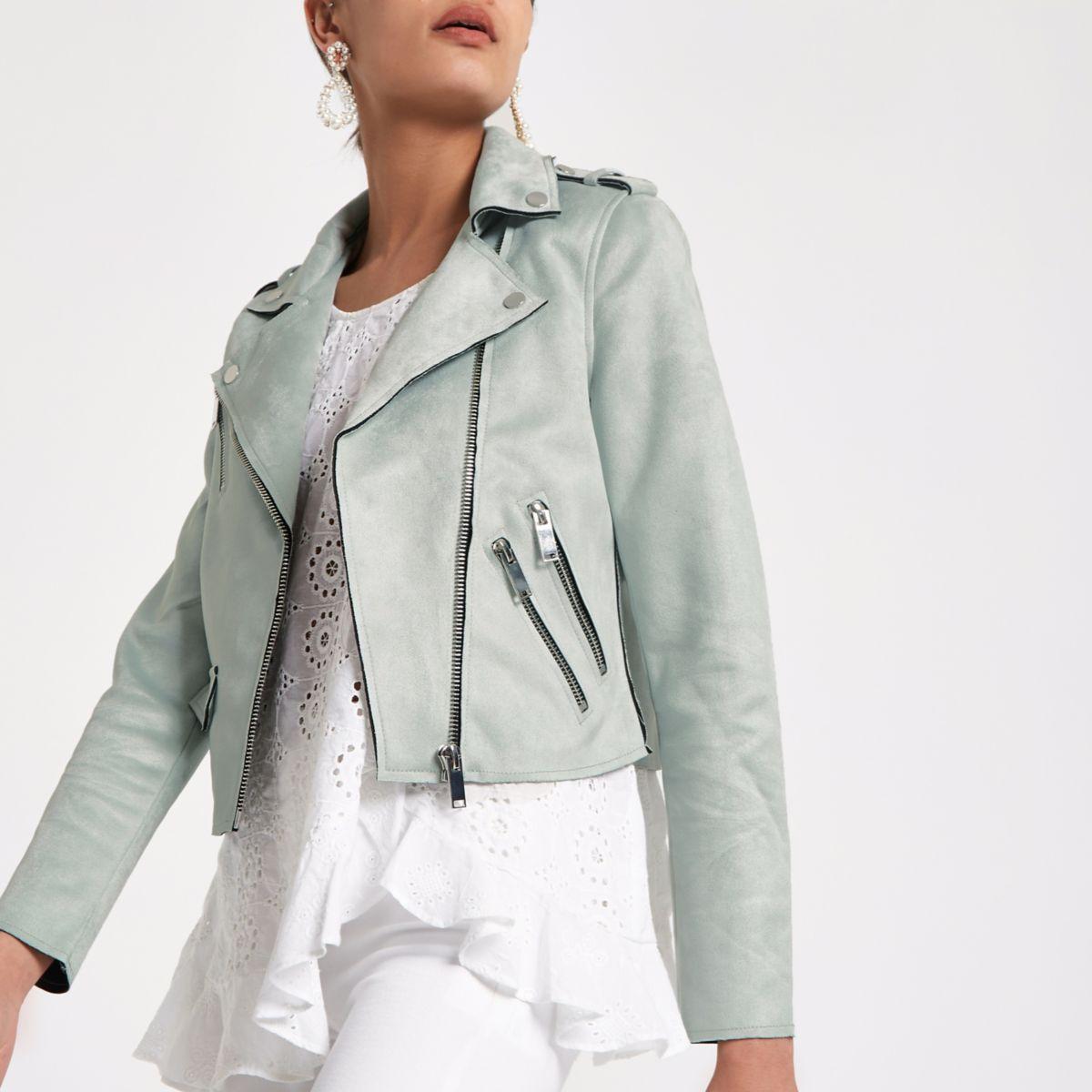 Mint green faux suede biker jacket