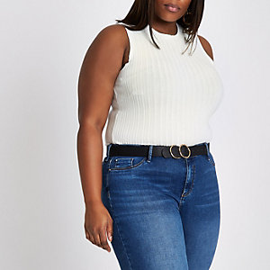 Plus white brushed rib tank top