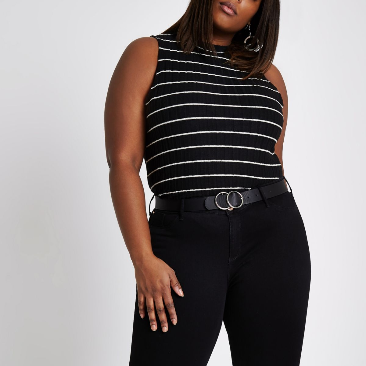 Plus black stripe brushed rib tank top