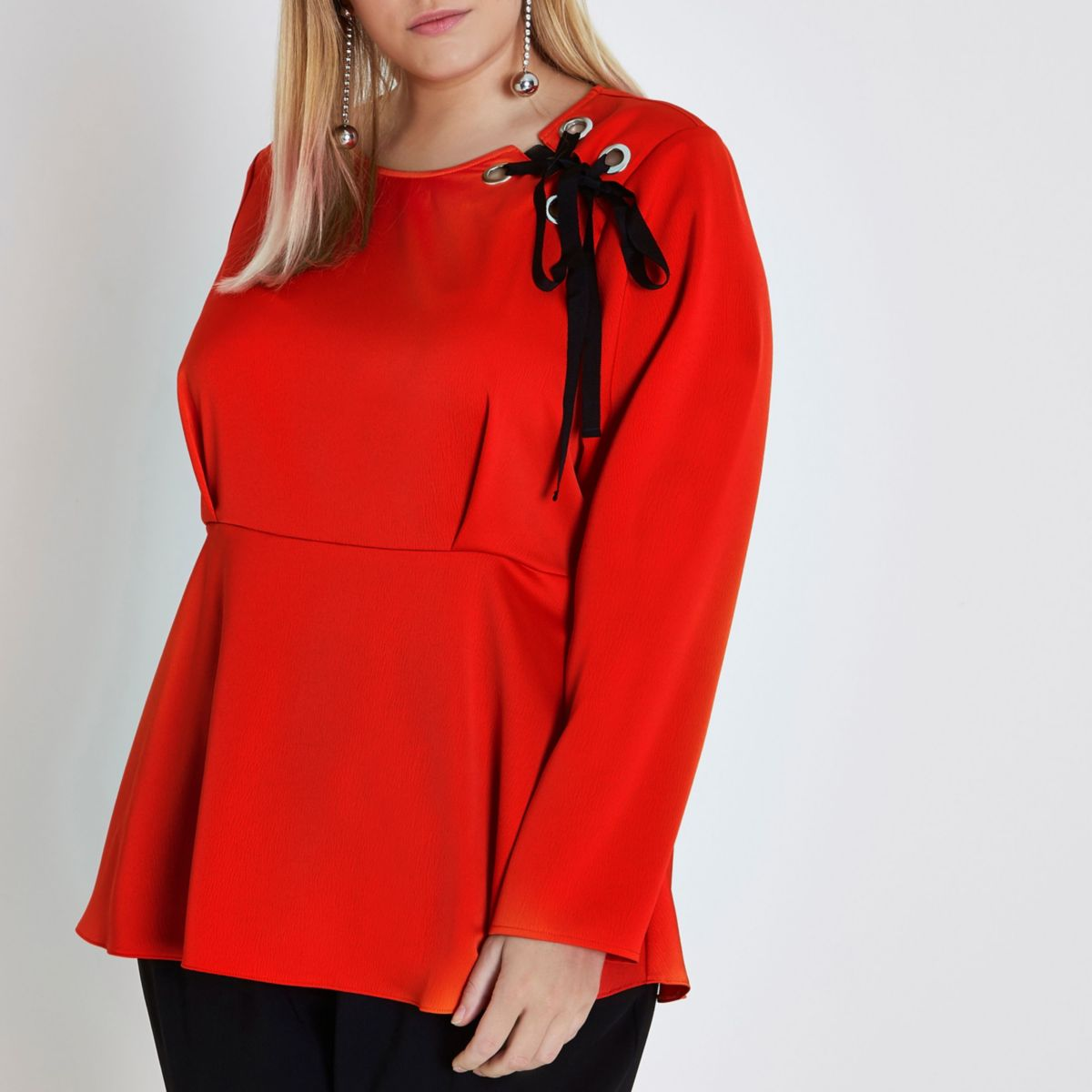 Plus orange lace-up shoulder peplum blouse