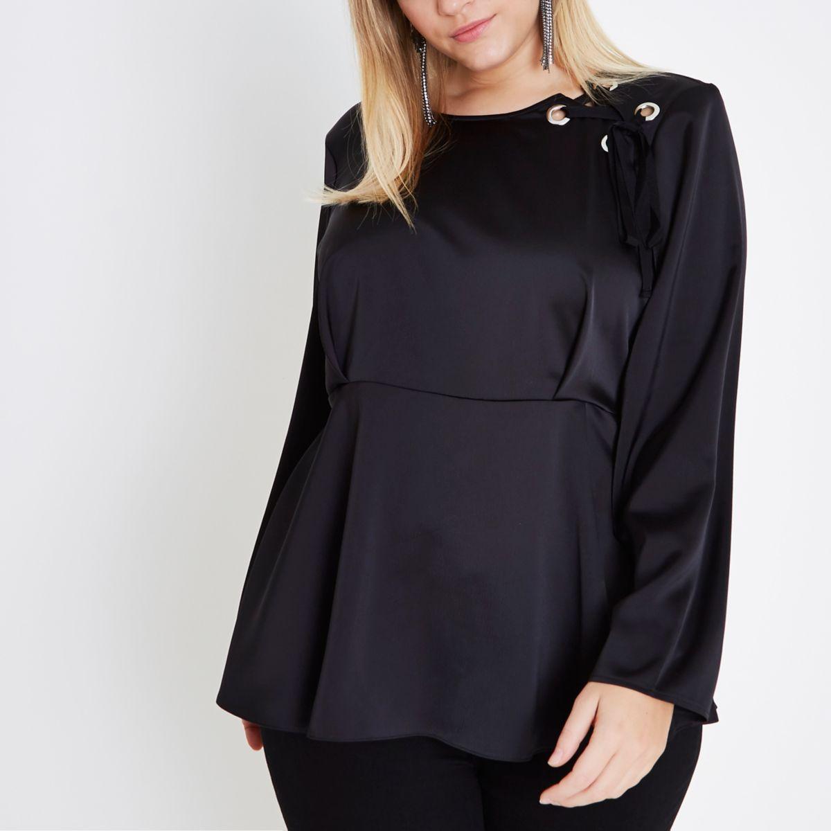 Plus black lace-up shoulder peplum blouse