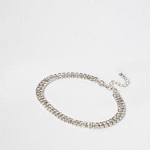 Silver tone diamante anklet