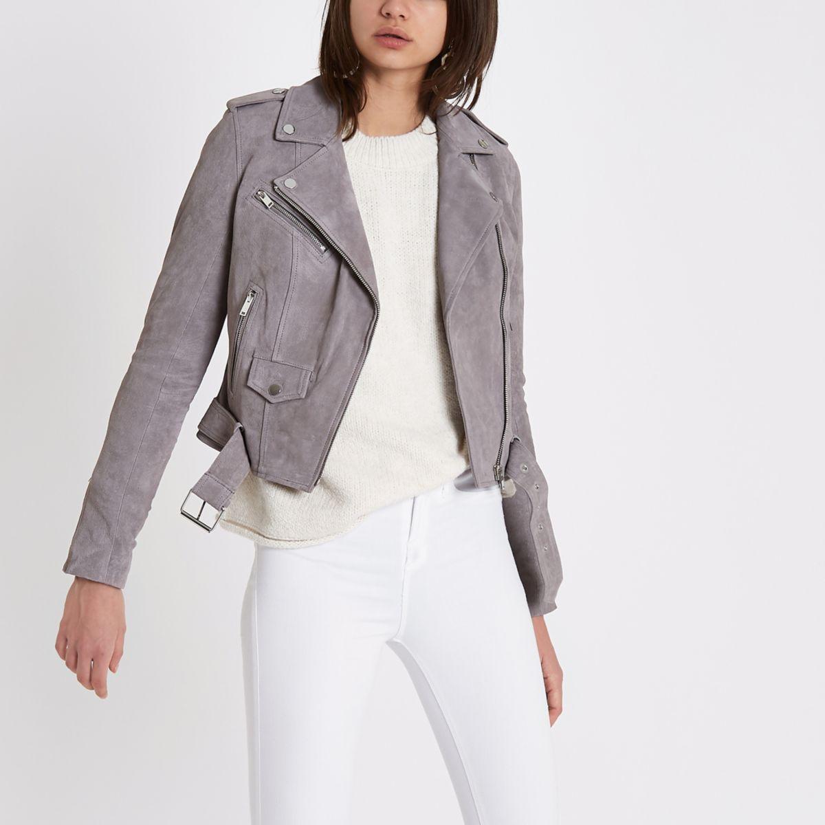 Grey suede belted biker jacket