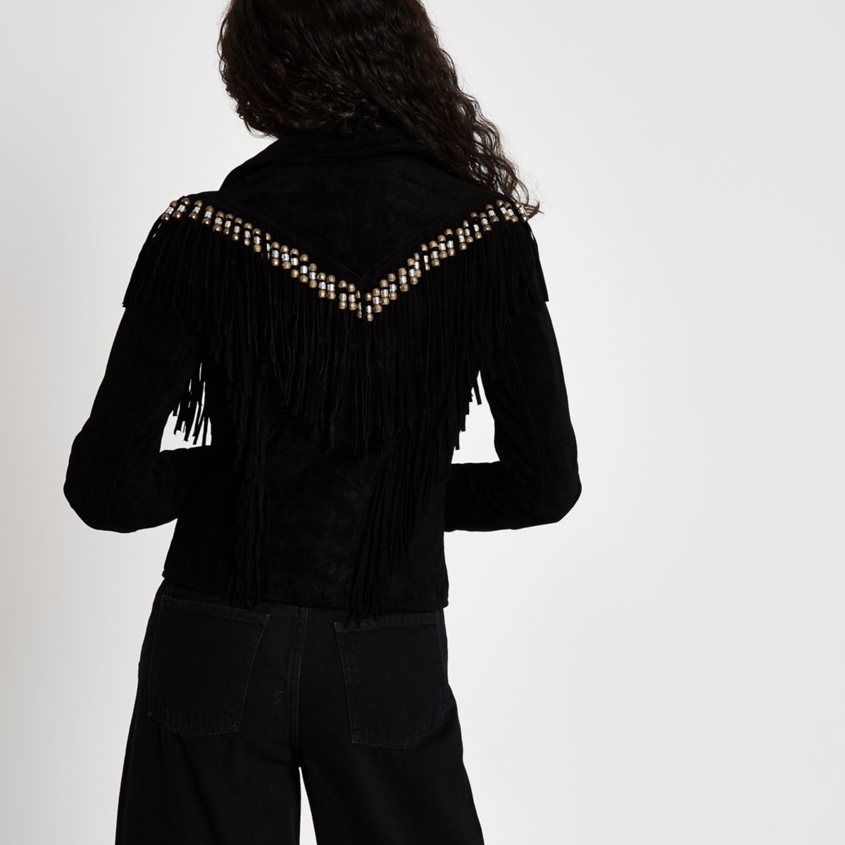 Black jacket fringe biker beaded suede rIg6Ywr