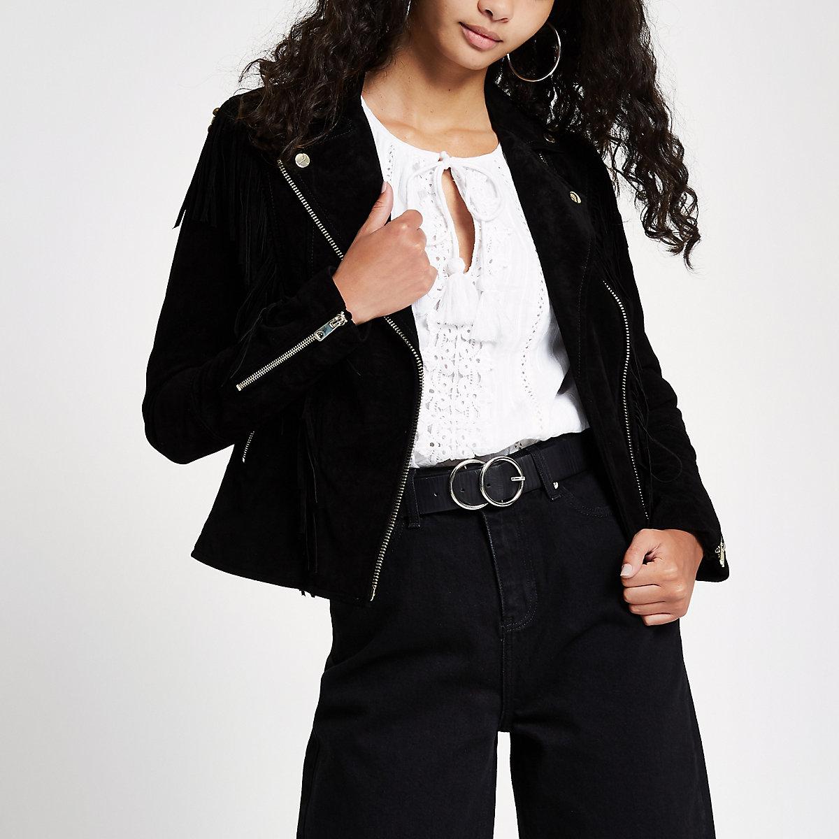 Black suede fringe beaded biker jacket