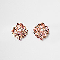 Rose gold tone jewel cluster earrings
