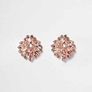 Rose gold tone jewel cluster earrings