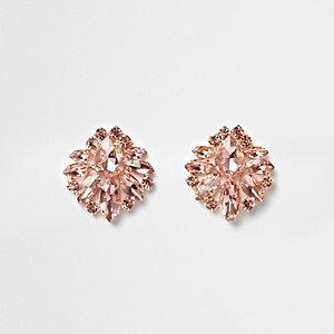 Boucles d'oreilles façon or rose à grappes de pierres