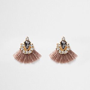 Nude tassel fan jewel embellished earrings