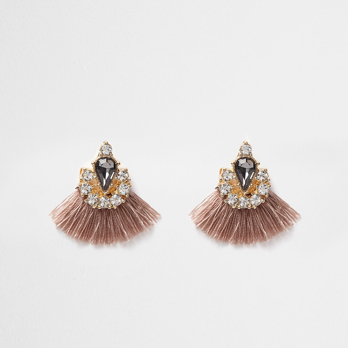 Beige tassel fan jewel embellished earrings