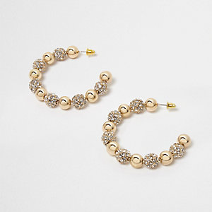 Gold tone ball rhinestone pave hoop earrings