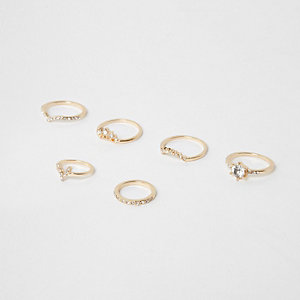 Gold tone rhinestone pave ring pack