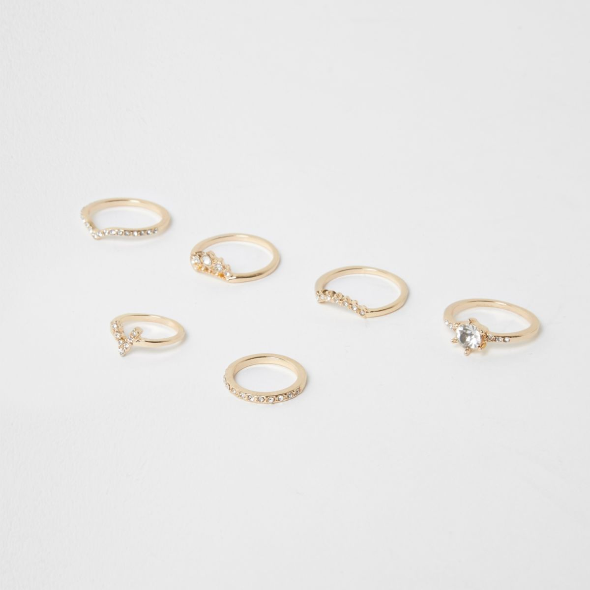 Gold tone rhinestone pave ring pack