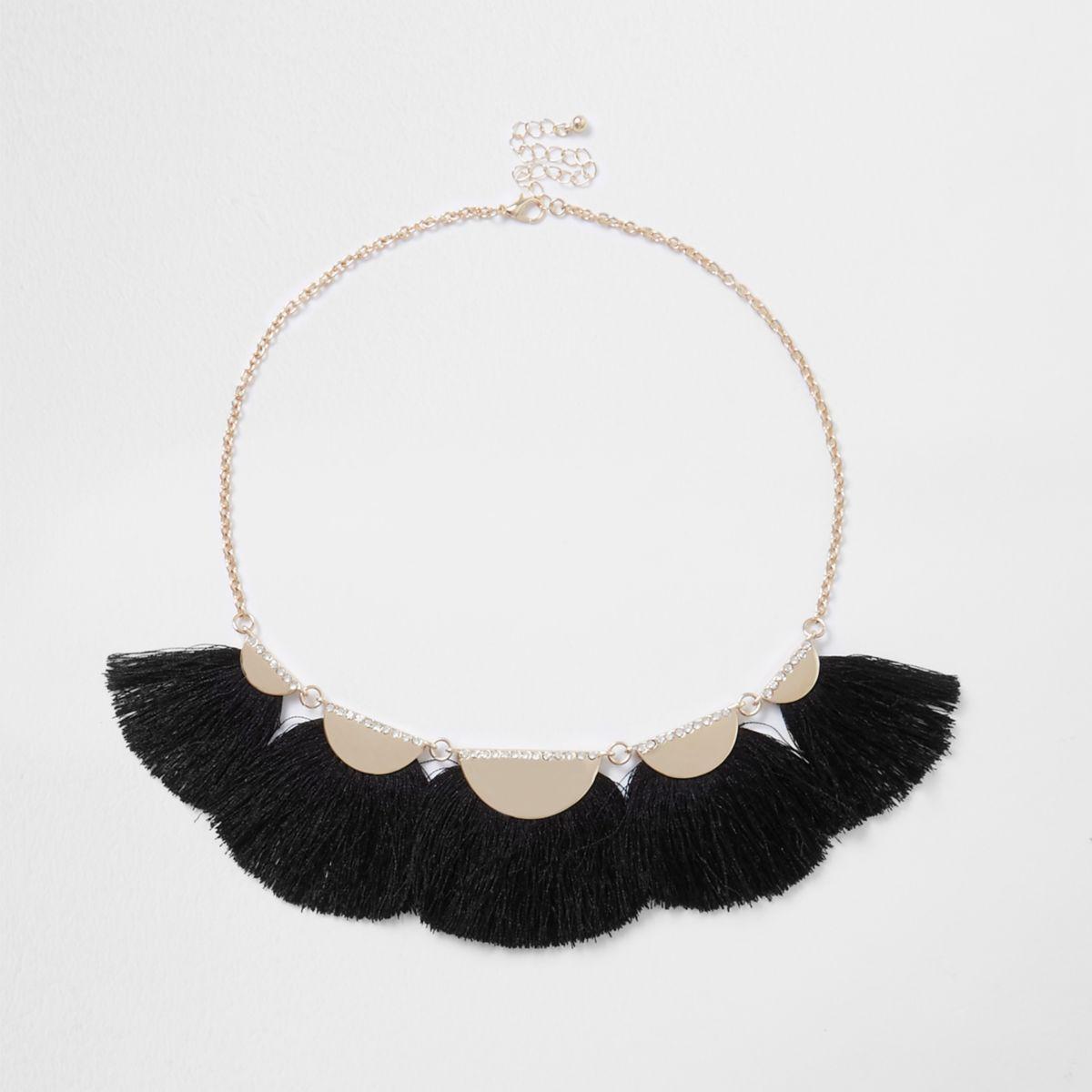 Black tassel fan statement necklace