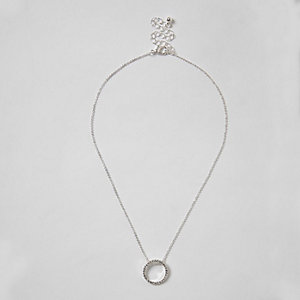 Silver tone diamante pave circle necklace