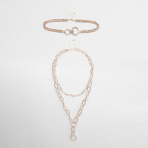 Rose gold tone chunky chain necklace set