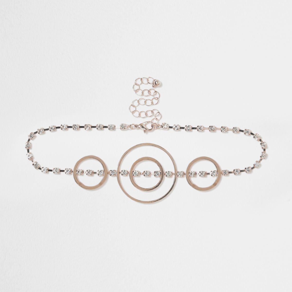 Rose gold tone circle diamante choker