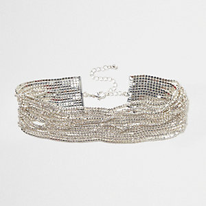 Silver tone diamante multi layer chain choker