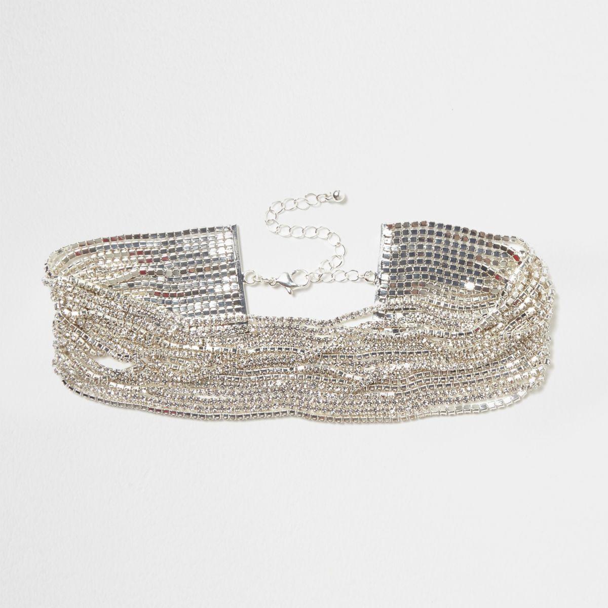 Silver tone diamante multi layer chain choker