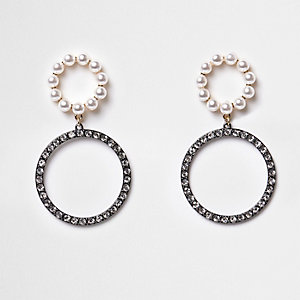 Silver gunmetal double rhinestone hoop earrings