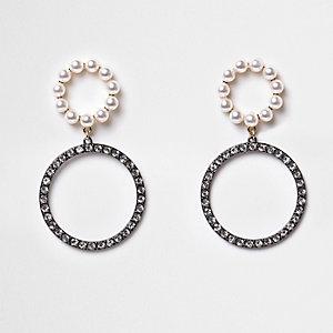 Silver gunmetal double rhinestone hoop earrings