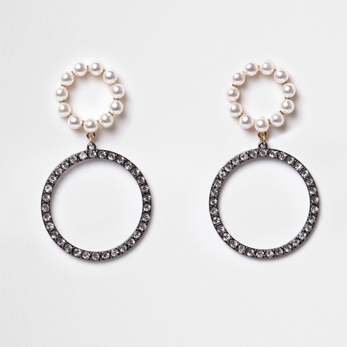 silver gunmetal double diamante hoop earrings earrings. Black Bedroom Furniture Sets. Home Design Ideas