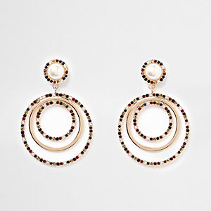 Gold tone pearl rhinestone ring drop earrings