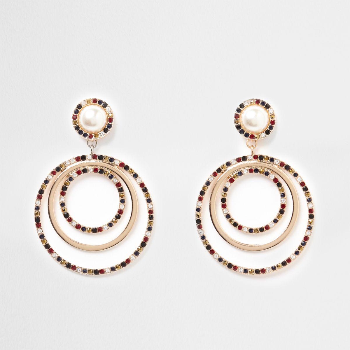 Gold tone pearl rhinestone ring drop earrings