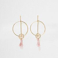 Boucles d'oreilles dorées avec anneaux, maillons et pampilles roses