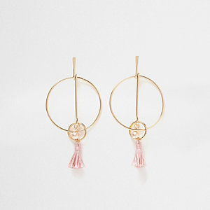 Gold tone link hoop pink tassel earrings