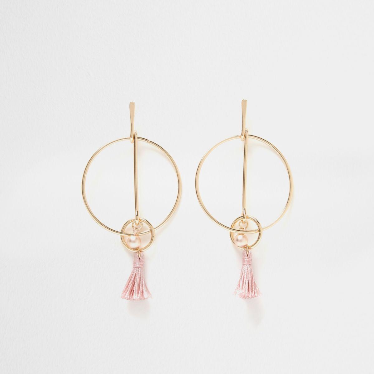 Gold tone link hoop pink tassel earrings