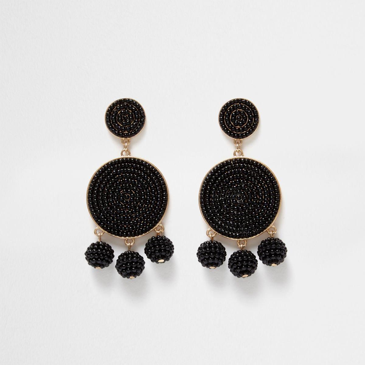 Black beaded triple ball drop earrings