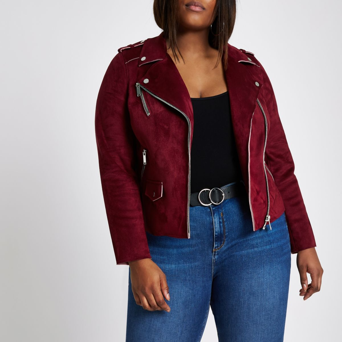 Plus dark red faux suede biker jacket