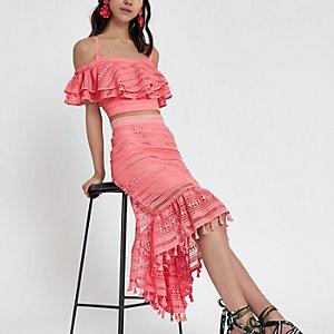 Pink frill lace crochet bardot crop top