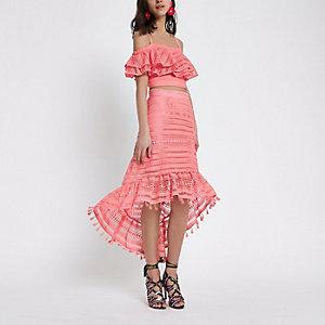 Pink crochet high low hem midi skirt