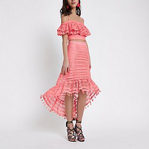 Pink crochet high low hem midi skirt