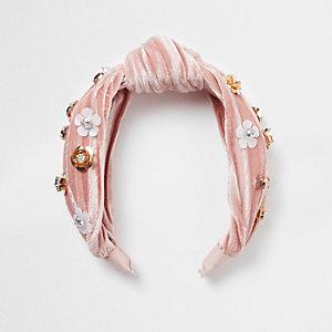 Bandeau en velours rose clair à fleur et nœud