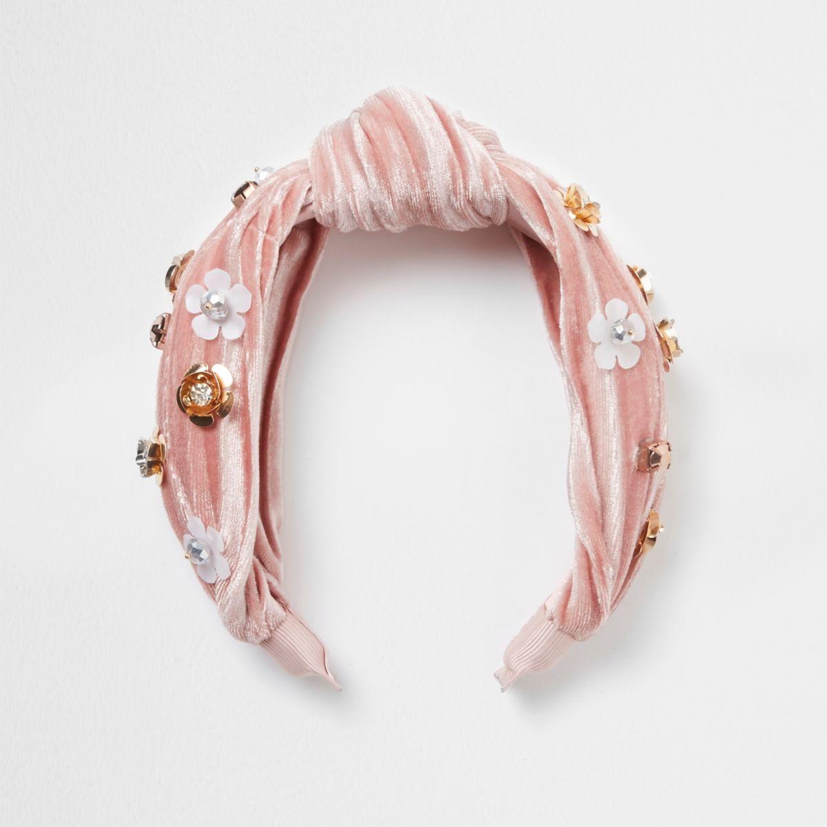 Light pink velvet flower knot headband