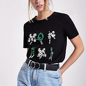 """Petite – Schwarzes, paillettenverziertes T-Shirt """"Mon Ami"""""""