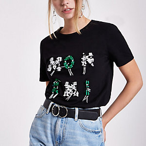 RI Petite - Zwart 'mon ami' T-shirt met lovertjes