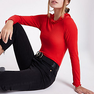 Petite red frill neck long sleeve crop top