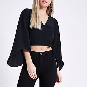 Petite navy wrap flare sleeve top
