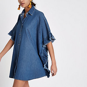 Blue denim frill sleeve oversized shirt