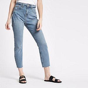 Petite – Casey – Mittelblaue Slim Fit Jeans